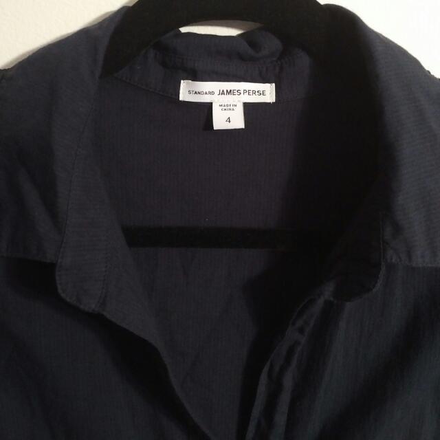 Standard James Perse Contrast Panel Shirt - Black