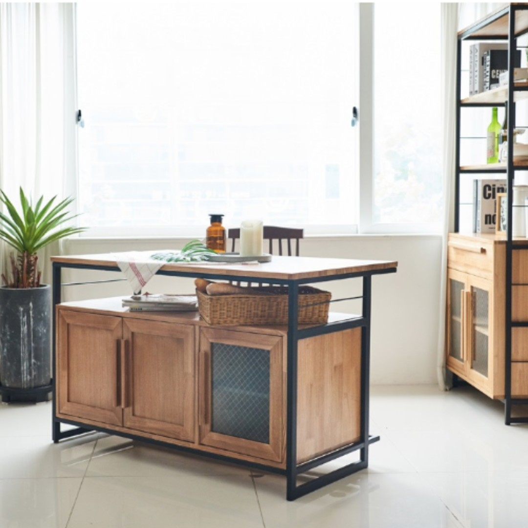 Tinwood Industrial Kitchen Island Dining Table Cum Cabinet