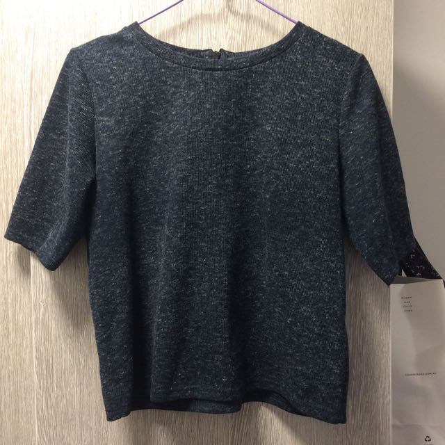 Top Shop Dark Navy Top With Zipper At The Back