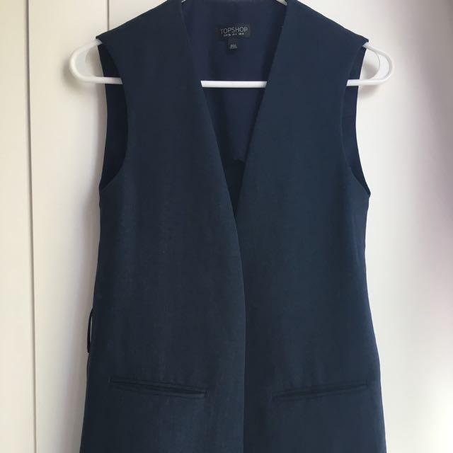 Topshop Size 4 Sleeveless Cardigan (Duster Feel)