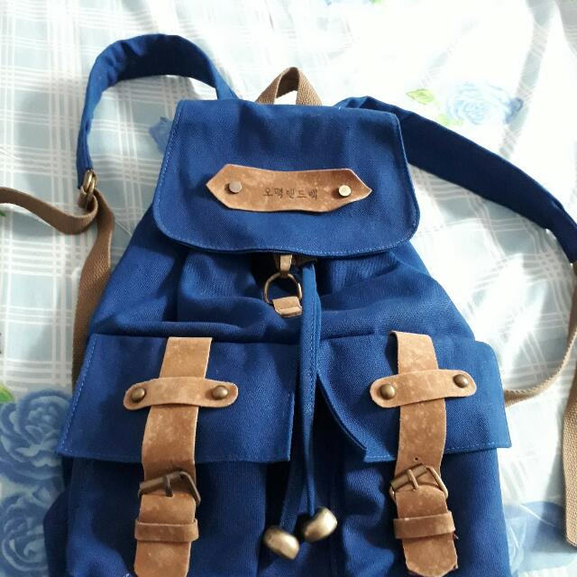 Vintage Blue Korean Backpack