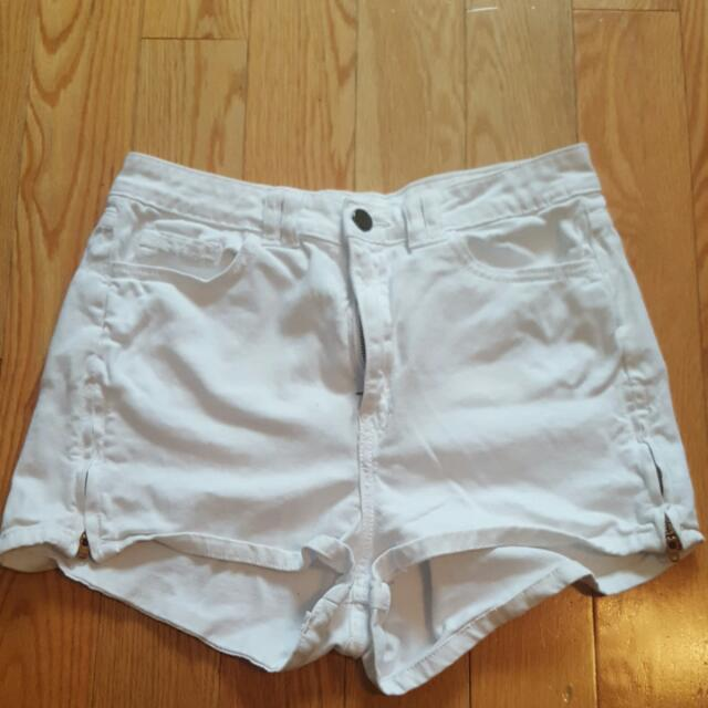 White American Apparel High Waisted Shorts