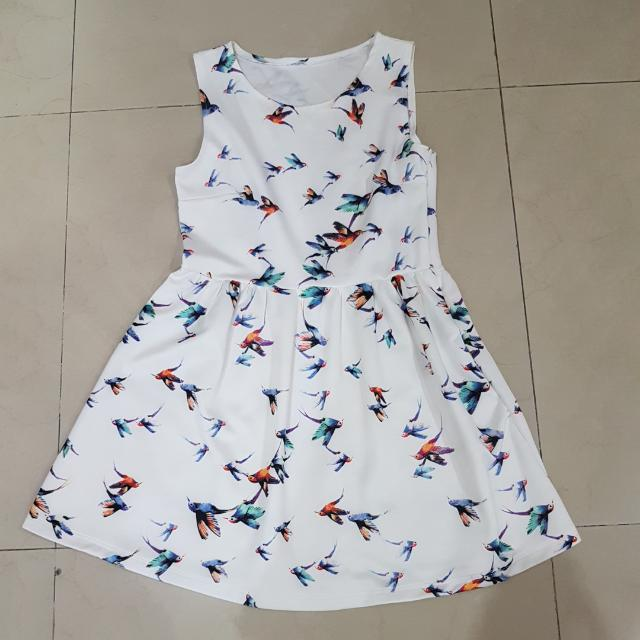 White Bird Pattern Dress