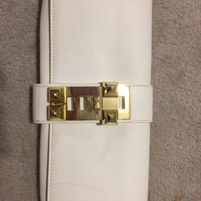White Hermes Leather Clutch