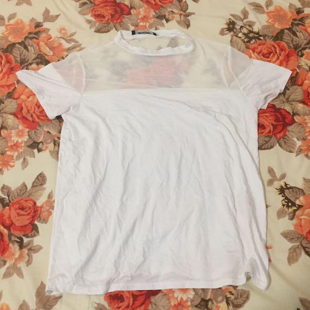 XS Mesh Top White Tshirt - Missguided
