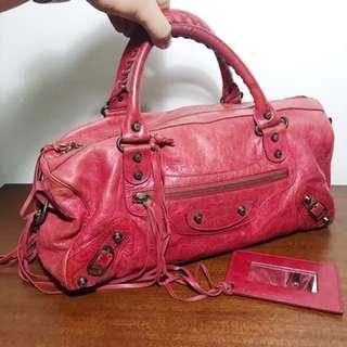 Authentic Balenciaga Twiggy in Ruby w/ Pewter HW