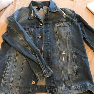 H&M Oversized Distressed Denim Jacket