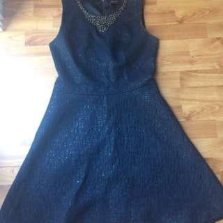 RW&CO Blue Dress With Elegant Beading