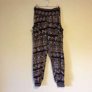 Elephant Motif Harem Pants Size 14