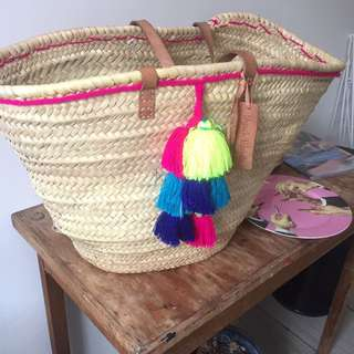 French Baskets Straw And Leather Bag!