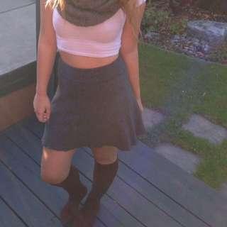 Garage High-Waisted Grey Skirt