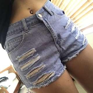 Ripped Denim Shorts Size - 8