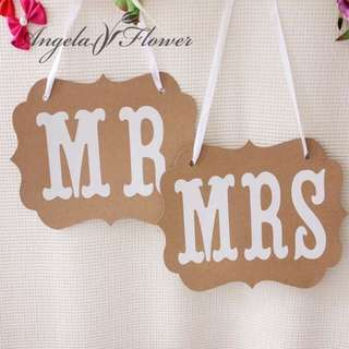 Me & Mrs Signboard For Wedding Photoshoot/ Chair Deco ( Ready Stock )