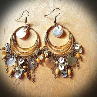 Shell, bead and sequence earrings