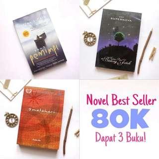 Novel Best Seller 80K Dapat 3 Buku!!