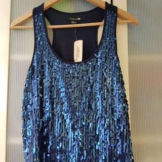 Forever21 Sequinned disco top - Sz m/m 8-10