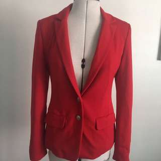 Classic Red Women's Blazer With Gold Buttons