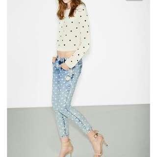 ZARA Acid Wash Polka Dots Spotted Skinny Boyfriend Denim Jeans Cropped Extra Low Rise Sz 36 / 8 RARE!!! FROM EUROPE