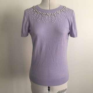 40's Vintage Style Knit Top In Pastel Purple