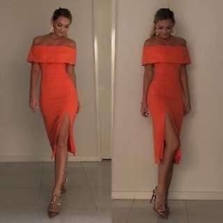 Kookai Positano Dress in Papaya Size 36