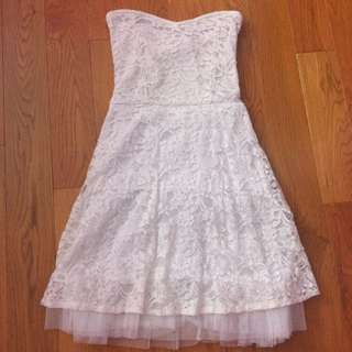 Strapless White Lace Tulle Dress