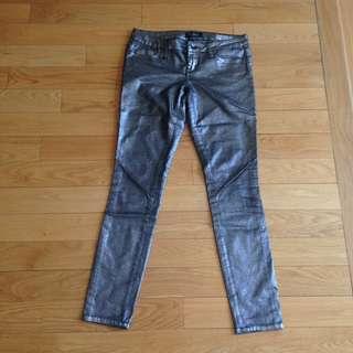 Sliver metallic jeans