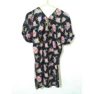 DRESS BLACK FLOWER