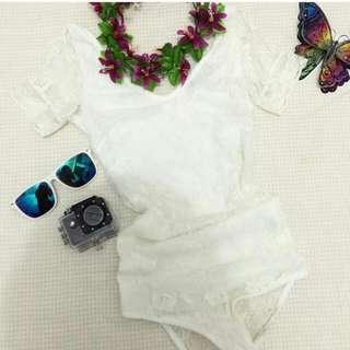 White Lace One Piece Suit