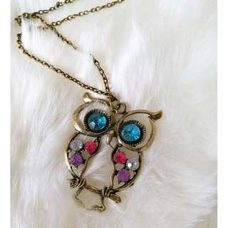 Vintage Owl Jewel Necklace