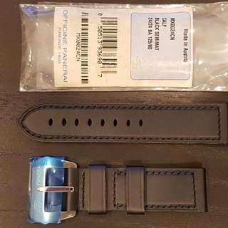 Panerai Calf Leather Semimat Black Watch Strap 24mm