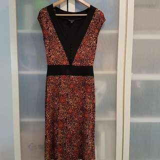 Cute small flora orange dress - Sz 8