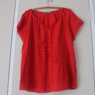 AU14 Red Cheesecloth top