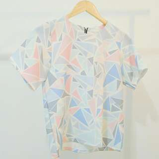 MARIS STELLA TOP Pastel Geometric Print AU 6-8 Small