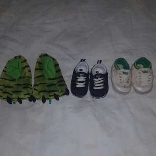 Boys Size 2 Shoes (2 X Volleys & 1 X Monster Slippers)