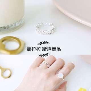 寵拉拉韩S925純銀幾何圓形麻花開口 食指關節戒 指環