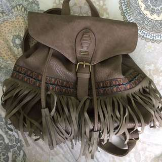 Leather Fringe Backpack