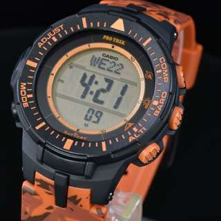 Casio Pro Trek PRG-300CM-4CR Orange Camo [Not: G Shock G-shock Apple Watch Smartwatch Fibit Galaxy Gear Samsung Fitness Tracker]
