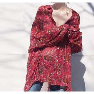 波西米亞復古印花圖騰海邊度假雪紡寬版襯衫/外套 - 紅花