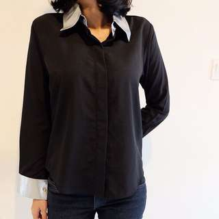 Black Shirt With Silver Details