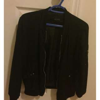 Zara Basic  Black Bomber Jacket