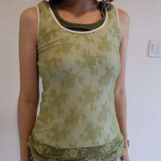 Lace Tank Top With 3 Layers