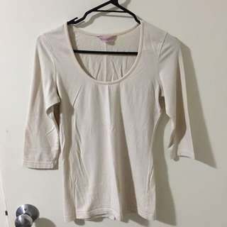 Cream Coloured 3/4 Sleeve Top Size Small