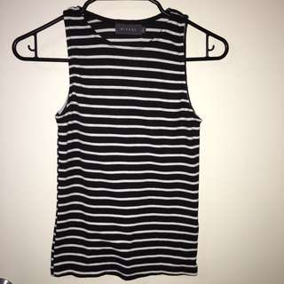 Ribbed Black And White Stripey Singlet