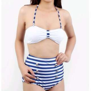 Retro Navy Stripes High Waist Bikini Swimwear