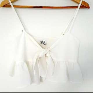 White Crop Singlet Size8
