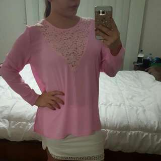 Pink Lace Long Sleeve Shirt Size S
