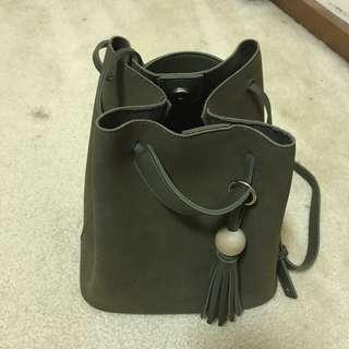 Deep Green Suede CrossBody Bag