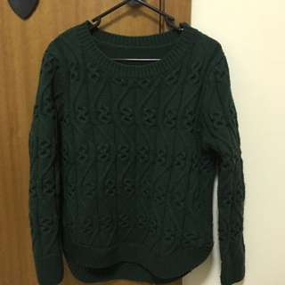 Thick Deep Green Knit Sweater