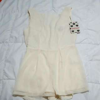 Playsuit Ivory Sequin Back Contrast