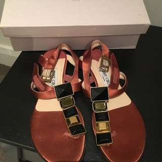 Jimmy Choo Satin Copper Sandals Size 37
